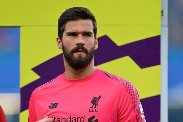 LONDON, ENGLAND - Saturday, September 29, 2018: Liverpool's goalkeeper Alisson Becker before the FA Premier League match between Chelsea FC and Liverpool FC at Stamford Bridge. (Pic by David Rawcliffe/Propaganda)