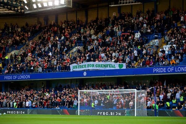 """LONDON, ENGLAND - Saturday, September 29, 2018: Liverpool supporters' banner """"Justice for Grenfell"""" before the FA Premier League match between Chelsea FC and Liverpool FC at Stamford Bridge. (Pic by David Rawcliffe/Propaganda)"""