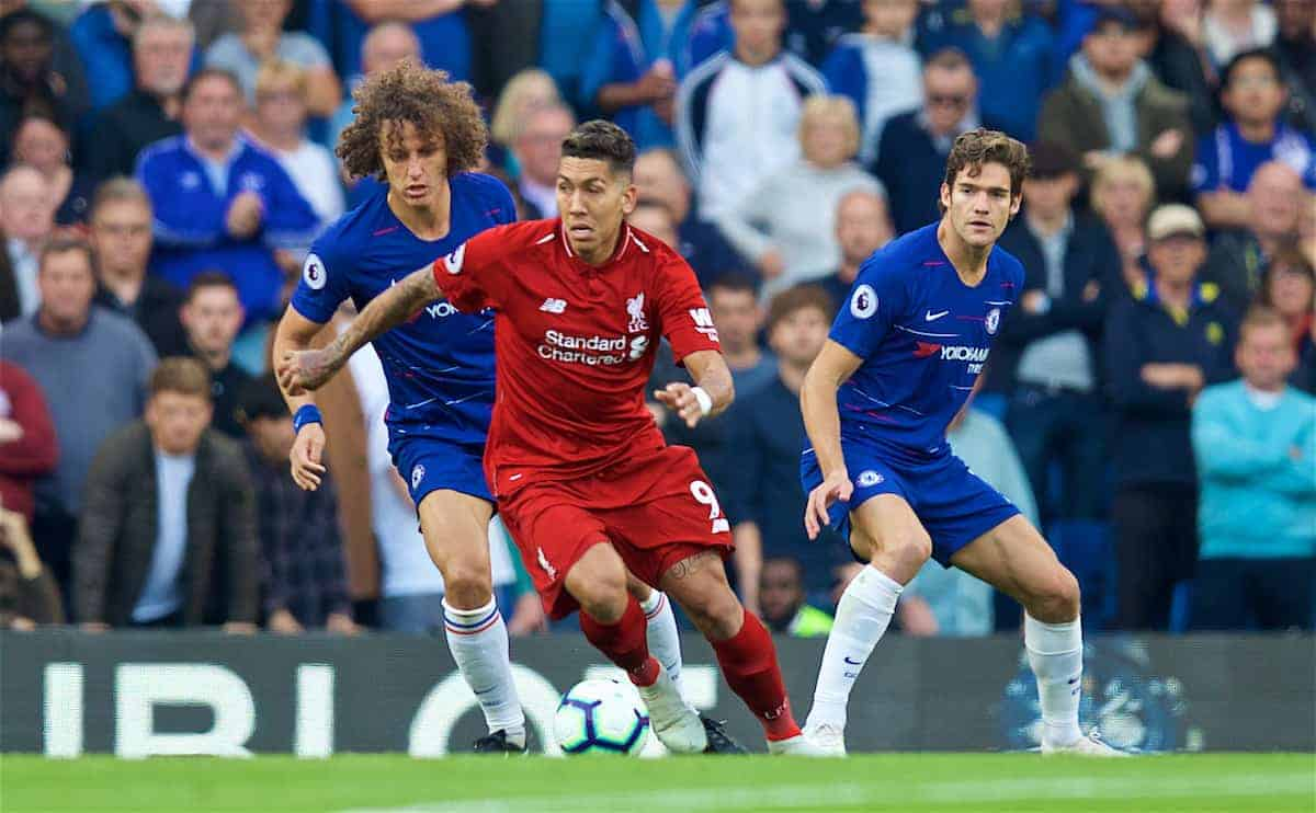 LONDON, ENGLAND - Saturday, September 29, 2018: Liverpool's Roberto Firmino (centre) during the FA Premier League match between Chelsea FC and Liverpool FC at Stamford Bridge. (Pic by David Rawcliffe/Propaganda)