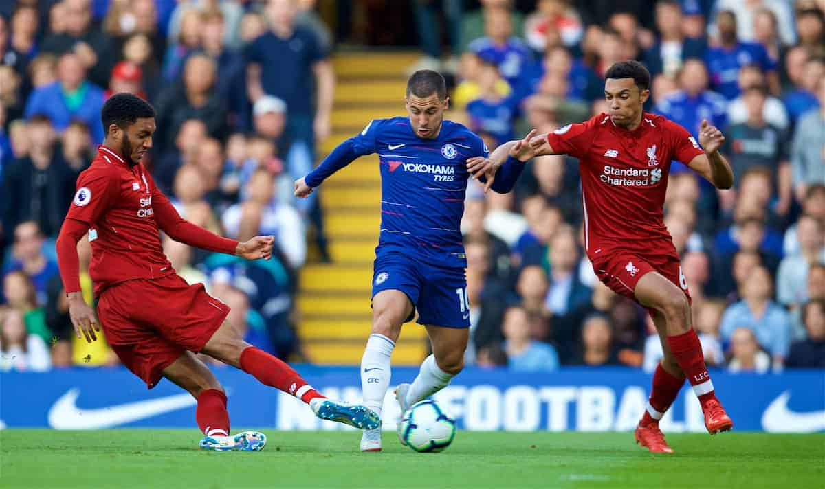 LONDON, ENGLAND - Saturday, September 29, 2018: Liverpool's Joe Gomez (left), Trent Alexander-Arnold (right) and Eden Hazard (centre) during the FA Premier League match between Chelsea FC and Liverpool FC at Stamford Bridge. (Pic by David Rawcliffe/Propaganda)