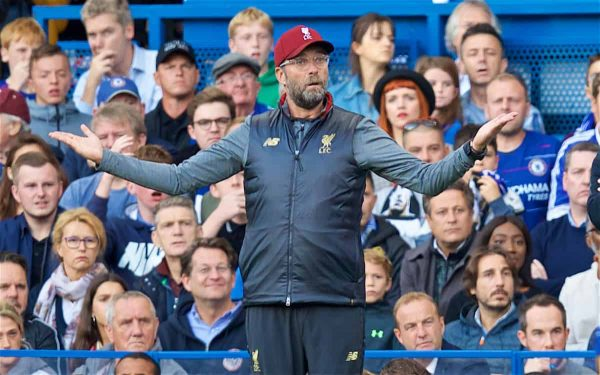 LONDON, ENGLAND - Saturday, September 29, 2018: Liverpool's lm reacts during the FA Premier League match between Chelsea FC and Liverpool FC at Stamford Bridge. (Pic by David Rawcliffe/Propaganda)
