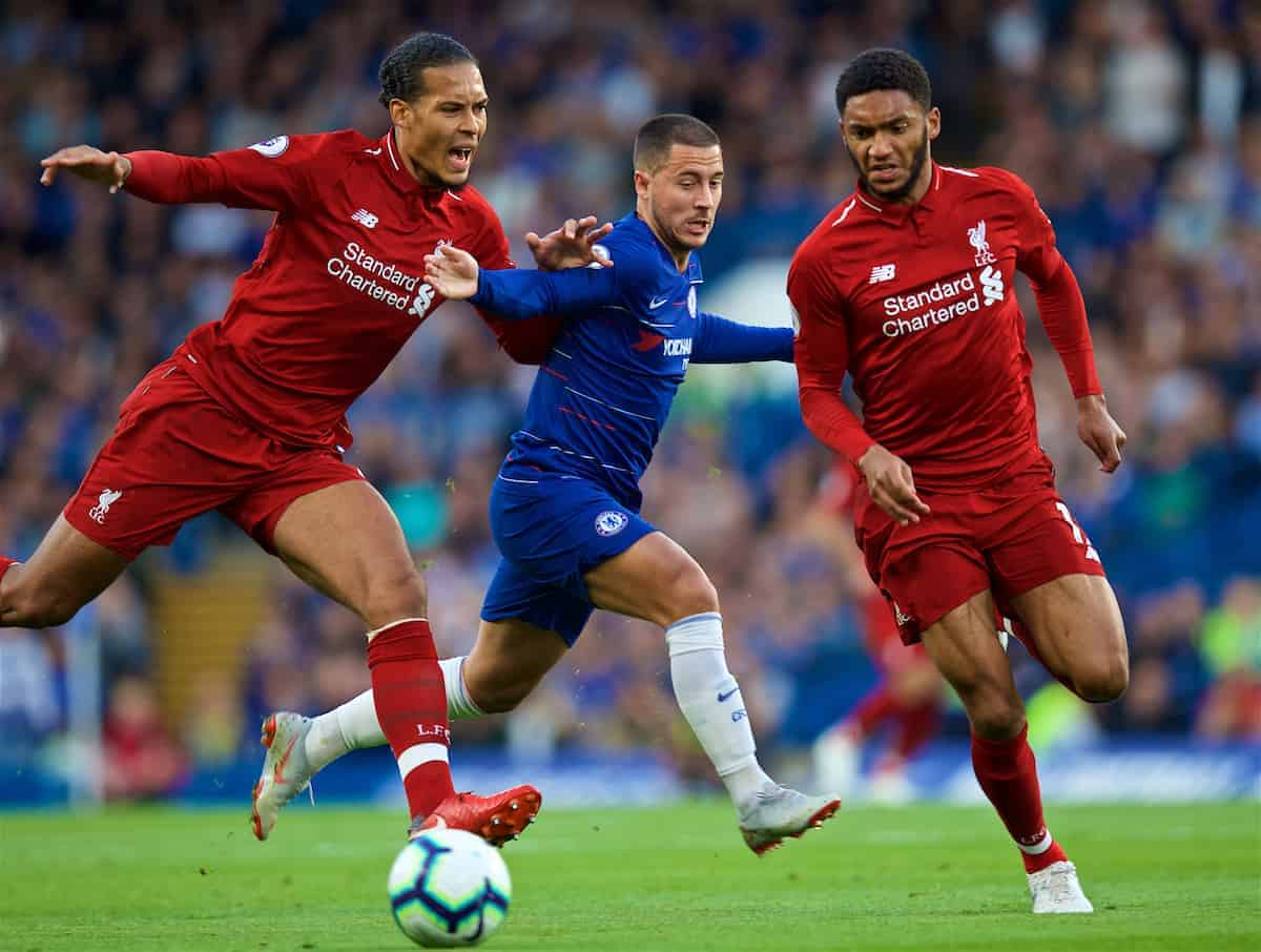 LONDON, ENGLAND - Saturday, September 29, 2018: Liverpool's Virgil van Dijk (left), Joe Gomez (right) and Eden Hazard (centre) during the FA Premier League match between Chelsea FC and Liverpool FC at Stamford Bridge. (Pic by David Rawcliffe/Propaganda)