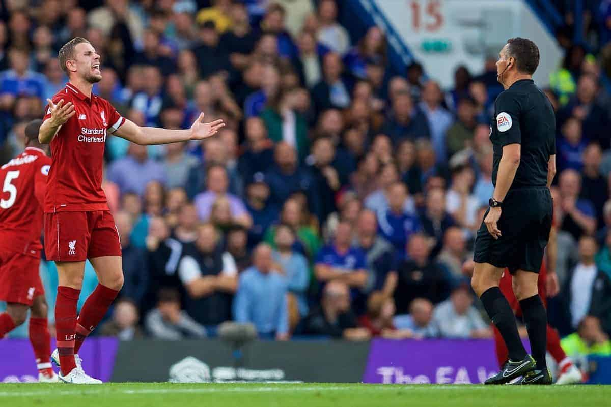 LONDON, ENGLAND - Saturday, September 29, 2018: Liverpool's captain Jordan Henderson reacts during the FA Premier League match between Chelsea FC and Liverpool FC at Stamford Bridge. (Pic by David Rawcliffe/Propaganda)
