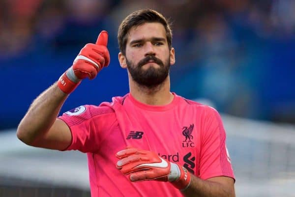 LONDON, ENGLAND - Saturday, September 29, 2018: Liverpool's goalkeeper Alisson Becker during the FA Premier League match between Chelsea FC and Liverpool FC at Stamford Bridge. (Pic by David Rawcliffe/Propaganda)
