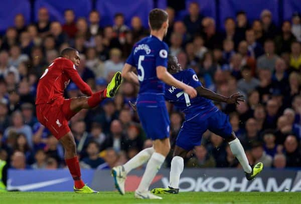 LONDON, ENGLAND - Saturday, September 29, 2018: Liverpool's Daniel Sturridge scores an equalizing goal during the FA Premier League match between Chelsea FC and Liverpool FC at Stamford Bridge. (Pic by David Rawcliffe/Propaganda)