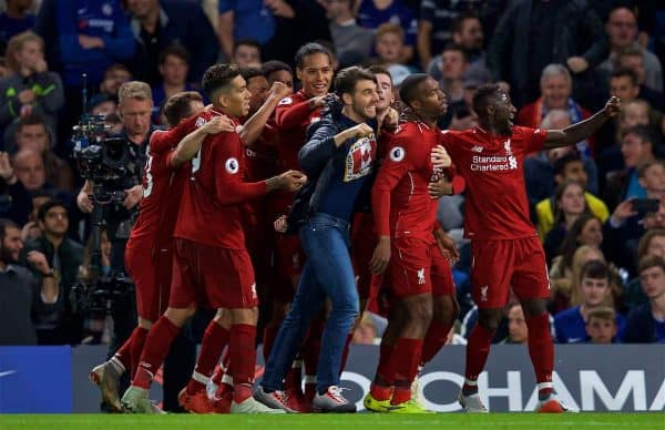 LONDON, ENGLAND - Saturday, September 29, 2018: Liverpool's Daniel Sturridge celebrates scoring the equalising goal with team-mates and the supporter during the FA Premier League match between Chelsea FC and Liverpool FC at Stamford Bridge. (Pic by David Rawcliffe/Propaganda)