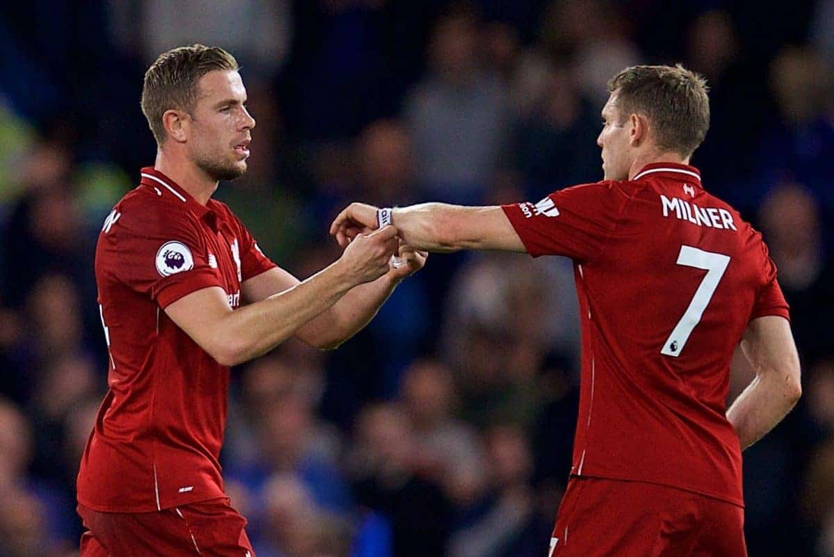 LONDON, ENGLAND - Saturday, September 29, 2018: Liverpool's captain Jordan Henderson (left) and James Milner during the FA Premier League match between Chelsea FC and Liverpool FC at Stamford Bridge. (Pic by David Rawcliffe/Propaganda)