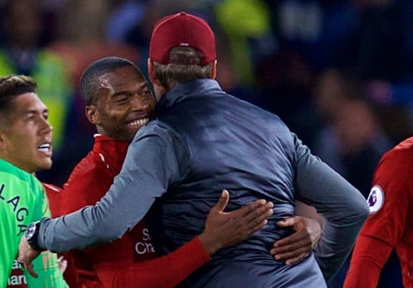 LONDON, ENGLAND - Saturday, September 29, 2018: Liverpool's Daniel Sturridge embraces manager J¸rgen Klopp after the FA Premier League match between Chelsea FC and Liverpool FC at Stamford Bridge. (Pic by David Rawcliffe/Propaganda)