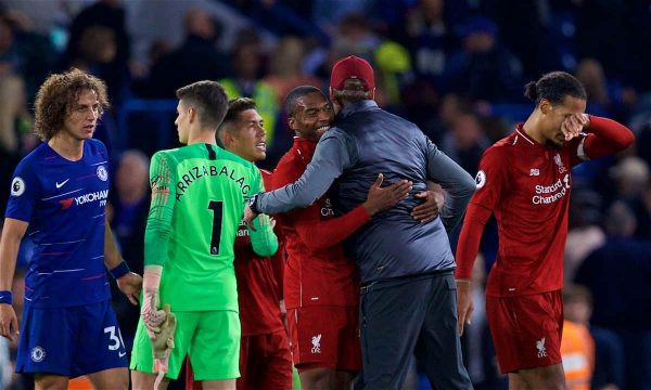 Liverpool's Daniel Sturridge embraces manager Jürgen Klopp after the FA Premier League match between Chelsea FC and Liverpool FC at Stamford Bridge. (Pic by David Rawcliffe/Propaganda)