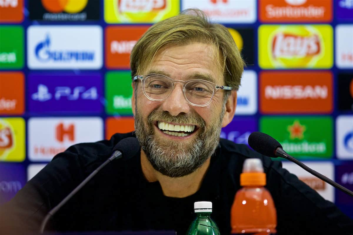 NAPLES, ITALY - Tuesday, October 2, 2018: Liverpool's manager Jürgen Klopp during a press conference ahead of the UEFA Champions League Group C match between S.S.C. Napoli and Liverpool FC at Stadio San Paolo. (Pic by David Rawcliffe/Propaganda)