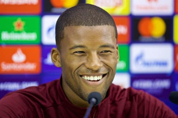NAPLES, ITALY - Tuesday, October 2, 2018: Liverpool's Georginio Wijnaldum during a press conference ahead of the UEFA Champions League Group C match between S.S.C. Napoli and Liverpool FC at Stadio San Paolo. (Pic by David Rawcliffe/Propaganda)