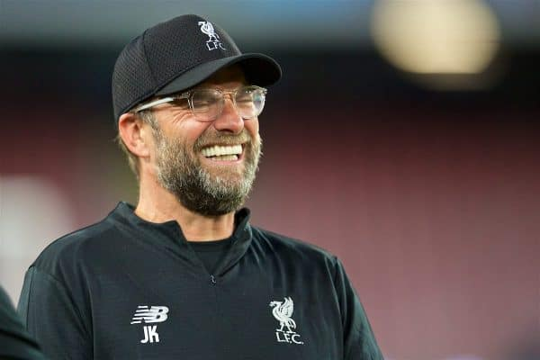 NAPLES, ITALY - Tuesday, October 2, 2018: Liverpool's manager Jürgen Klopp during a training session ahead of the UEFA Champions League Group C match between S.S.C. Napoli and Liverpool FC at Stadio San Paolo. (Pic by David Rawcliffe/Propaganda)