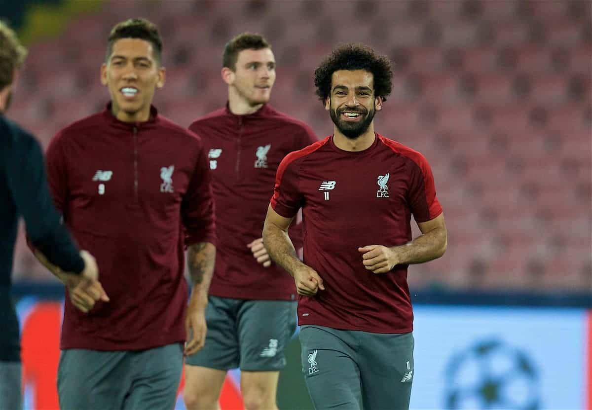NAPLES, ITALY - Tuesday, October 2, 2018: Liverpool's Mohamed Salah during a training session ahead of the UEFA Champions League Group C match between S.S.C. Napoli and Liverpool FC at Stadio San Paolo. (Pic by David Rawcliffe/Propaganda)