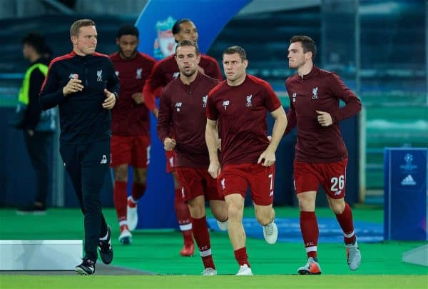 NAPLES, ITALY - Wednesday, October 3, 2018: Liverpool's captain Jordan Henderson, Mohamed Salah and Andy Robertson run out for the pre-match warm-up before the UEFA Champions League Group C match between S.S.C. Napoli and Liverpool FC at Stadio San Paolo. (Pic by David Rawcliffe/Propaganda)