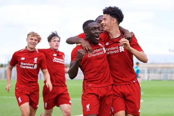 NAPLES, ITALY - Wednesday, October 3, 2018: Liverpool's Bobby Adekanye (L) celebrates scoring the first goal with team-mate Curtis Jones (R) during the UEFA Youth League Group C match between S.S.C. Napoli and Liverpool FC at Stadio Comunale di Frattamaggiore. (Pic by David Rawcliffe/Propaganda)NAPLES, ITALY - Wednesday, October 3, 2018: Liverpool's Bobby Adekanye (L) celebrates scoring the first goal with team-mate Curtis Jones (R) during the UEFA Youth League Group C match between S.S.C. Napoli and Liverpool FC at Stadio Comunale di Frattamaggiore. (Pic by David Rawcliffe/Propaganda)