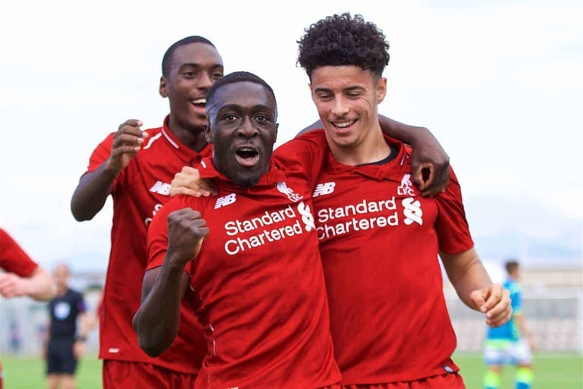 NAPLES, ITALY - Wednesday, October 3, 2018: Liverpool's Bobby Adekanye (L) celebrates scoring the first goal with team-mate Curtis Jones (R) during the UEFA Youth League Group C match between S.S.C. Napoli and Liverpool FC at Stadio Comunale di Frattamaggiore. (Pic by David Rawcliffe/Propaganda)