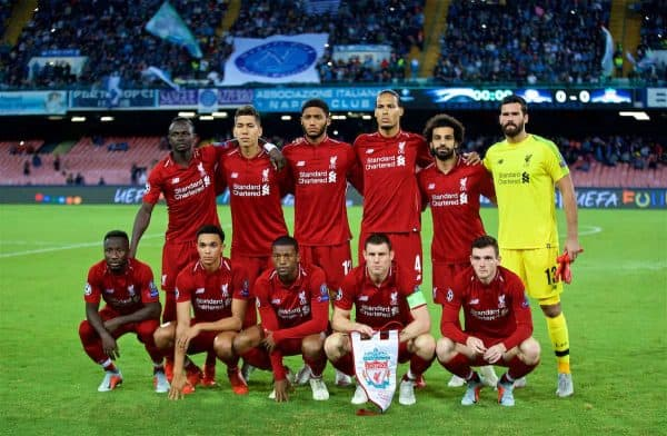 NAPLES, ITALY - Wednesday, October 3, 2018: Liverpool's players line-up for a team group photograph before the UEFA Champions League Group C match between S.S.C. Napoli and Liverpool FC at Stadio San Paolo. (Pic by David Rawcliffe/Propaganda)