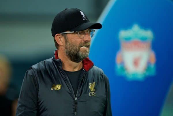 NAPLES, ITALY - Wednesday, October 3, 2018: Liverpool's manager Jürgen Klopp before the UEFA Champions League Group C match between S.S.C. Napoli and Liverpool FC at Stadio San Paolo. (Pic by David Rawcliffe/Propaganda)