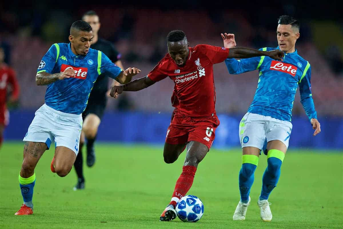 NAPLES, ITALY - Wednesday, October 3, 2018: Liverpool's Naby Keita (C) and Napoli's Allan Marques Loureiro (L) and José Callejón (R) during the UEFA Champions League Group C match between S.S.C. Napoli and Liverpool FC at Stadio San Paolo. (Pic by David Rawcliffe/Propaganda)