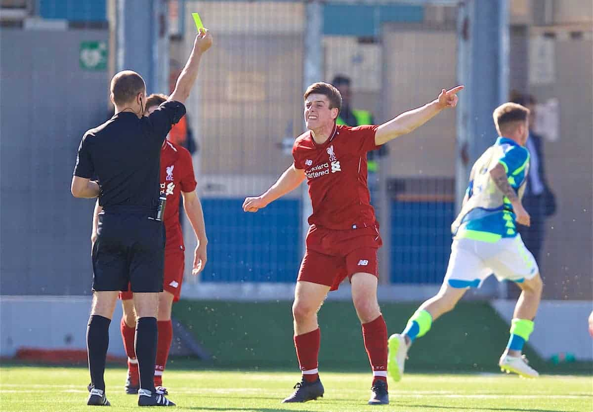 NAPLES, ITALY - Wednesday, October 3, 2018: Liverpool's's Liam Coyle complains to the referee after Napoli score an injury time equalising goal, despite there being two balls on the pitch, during the UEFA Youth League Group C match between S.S.C. Napoli and Liverpool FC at Stadio Comunale di Frattamaggiore. (Pic by David Rawcliffe/Propaganda)