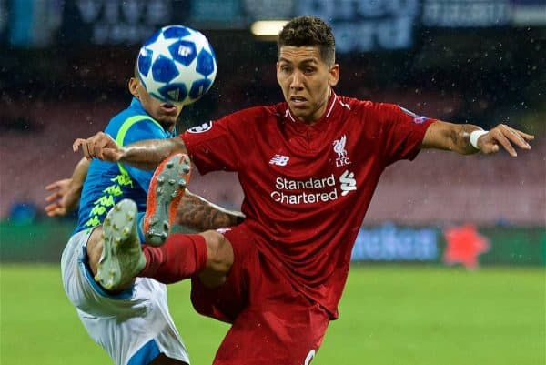 NAPLES, ITALY - Wednesday, October 3, 2018: Liverpool's Roberto Firmino during the UEFA Champions League Group C match between S.S.C. Napoli and Liverpool FC at Stadio San Paolo. (Pic by David Rawcliffe/Propaganda)