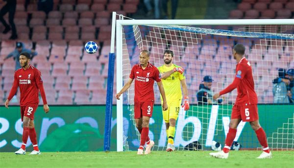 Liverpool's Fabio Henrique Tavares 'Fabinho' and goalkeeper Alisson Becker look dejected as Napoli score an injury time winning goal during the UEFA Champions League Group C match between S.S.C. Napoli and Liverpool FC at Stadio San Paolo. Napoli won 1-0. (Pic by David Rawcliffe/Propaganda)