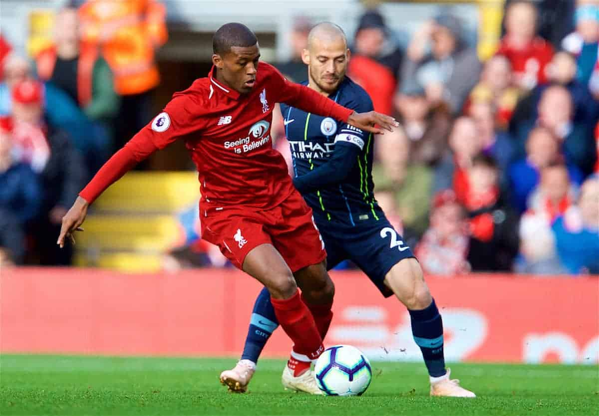 LIVERPOOL, ENGLAND - Sunday, October 7, 2018: Liverpool's Georginio Wijnaldum (R) and Manchester City's David Silva during the FA Premier League match between Liverpool FC and Manchester City FC at Anfield. (Pic by David Rawcliffe/Propaganda)