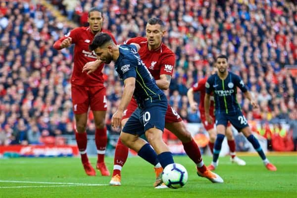 LIVERPOOL, ENGLAND - Sunday, October 7, 2018: Liverpool's Dejan Lovren (R) and Manchester City's Sergio Aguero during the FA Premier League match between Liverpool FC and Manchester City FC at Anfield. (Pic by David Rawcliffe/Propaganda)