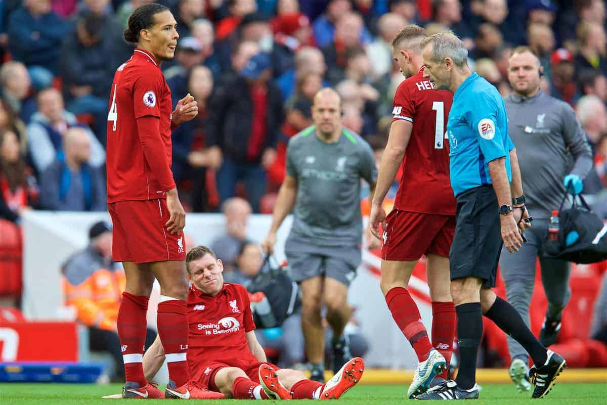 Liverpool's James Milner goes down injured during the FA Premier League match between Liverpool FC and Manchester City FC at Anfield. (Pic by David Rawcliffe/Propaganda)
