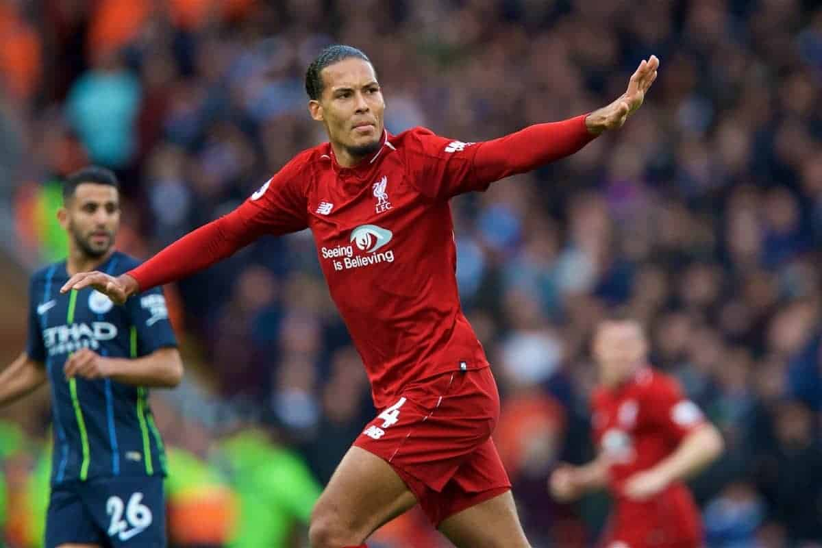 LIVERPOOL, ENGLAND - Sunday, October 7, 2018: Liverpool's Virgil van Dijk during the FA Premier League match between Liverpool FC and Manchester City FC at Anfield. (Pic by David Rawcliffe/Propaganda)