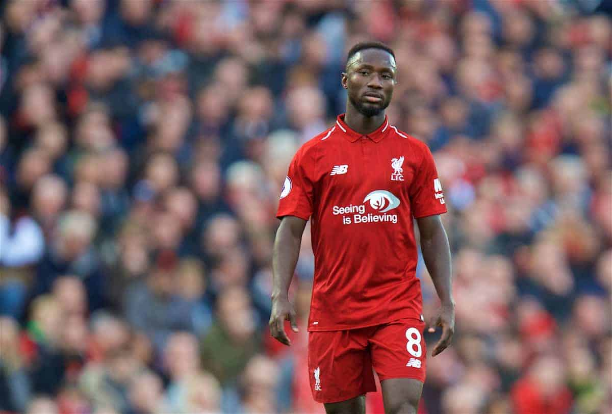 LIVERPOOL, ENGLAND - Sunday, October 7, 2018: Liverpool's Naby Keita during the FA Premier League match between Liverpool FC and Manchester City FC at Anfield. (Pic by David Rawcliffe/Propaganda)
