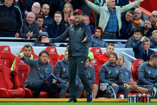 LIVERPOOL, ENGLAND - Sunday, October 7, 2018: Liverpool's manager J¸rgen Klopp reacts during the FA Premier League match between Liverpool FC and Manchester City FC at Anfield. (Pic by David Rawcliffe/Propaganda)
