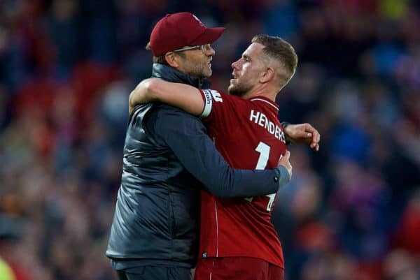 LIVERPOOL, ENGLAND - Sunday, October 7, 2018: Liverpool's manager Jürgen Klopp and captain Jordan Henderson embrace after the FA Premier League match between Liverpool FC and Manchester City FC at Anfield. The game ended goal-less. (Pic by David Rawcliffe/Propaganda)