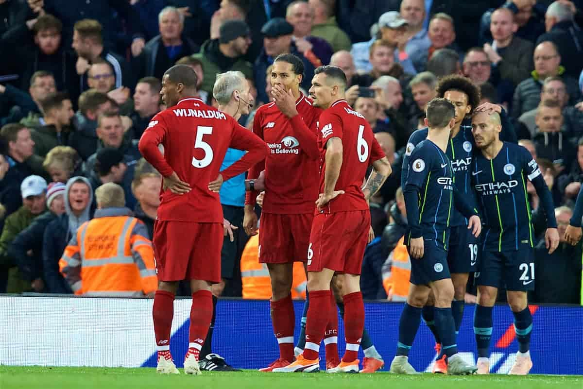 LIVERPOOL, ENGLAND - Sunday, October 7, 2018: Liverpool's Virgil van Dijk appeals to referee Martin Atkinson after a penalty is awarded during the FA Premier League match between Liverpool FC and Manchester City FC at Anfield. (Pic by David Rawcliffe/Propaganda)