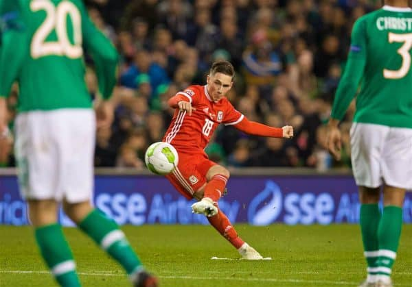 DUBLIN, IRELAND - Tuesday, October 16, 2018: Wales' Harry Wilson scores the first goal from a free-kick during the UEFA Nations League Group Stage League B Group 4 match between Republic of Ireland and Wales at the Aviva Stadium. (Pic by David Rawcliffe/Propaganda)