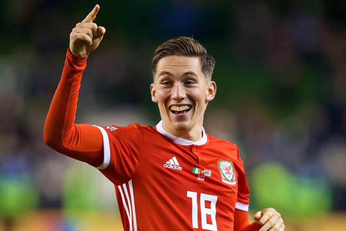 DUBLIN, IRELAND - Tuesday, October 16, 2018: Wales' match-winning goal-scorer Harry Wilson celebrates after the 1-0 victory during the UEFA Nations League Group Stage League B Group 4 match between Republic of Ireland and Wales at the Aviva Stadium. (Pic by David Rawcliffe/Propaganda)