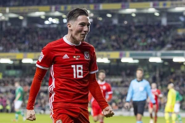 DUBLIN, IRELAND - Tuesday, October 16, 2018: Wales' Harry Wilson celebrates scoring the first goal during the UEFA Nations League Group Stage League B Group 4 match between Republic of Ireland and Wales at the Aviva Stadium. (Pic by Paul Greenwood/Propaganda)