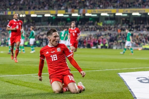 Wales' Harry Wilson celebrates scoring the first goal during the UEFA Nations League Group Stage League B Group 4 match between Republic of Ireland and Wales at the Aviva Stadium. (Pic by Paul Greenwood/Propaganda)