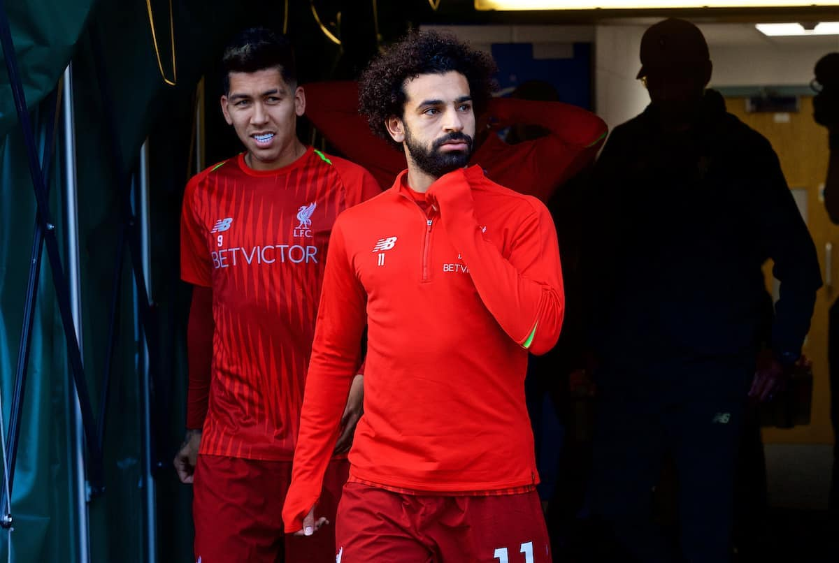 HUDDERSFIELD, ENGLAND - Saturday, October 20, 2018: Liverpool's Roberto Firmino (L) and Mohamed Salah during the pre-match warm-up before the FA Premier League match between Huddersfield Town FC and Liverpool FC at Kirklees Stadium. (Pic by David Rawcliffe/Propaganda)