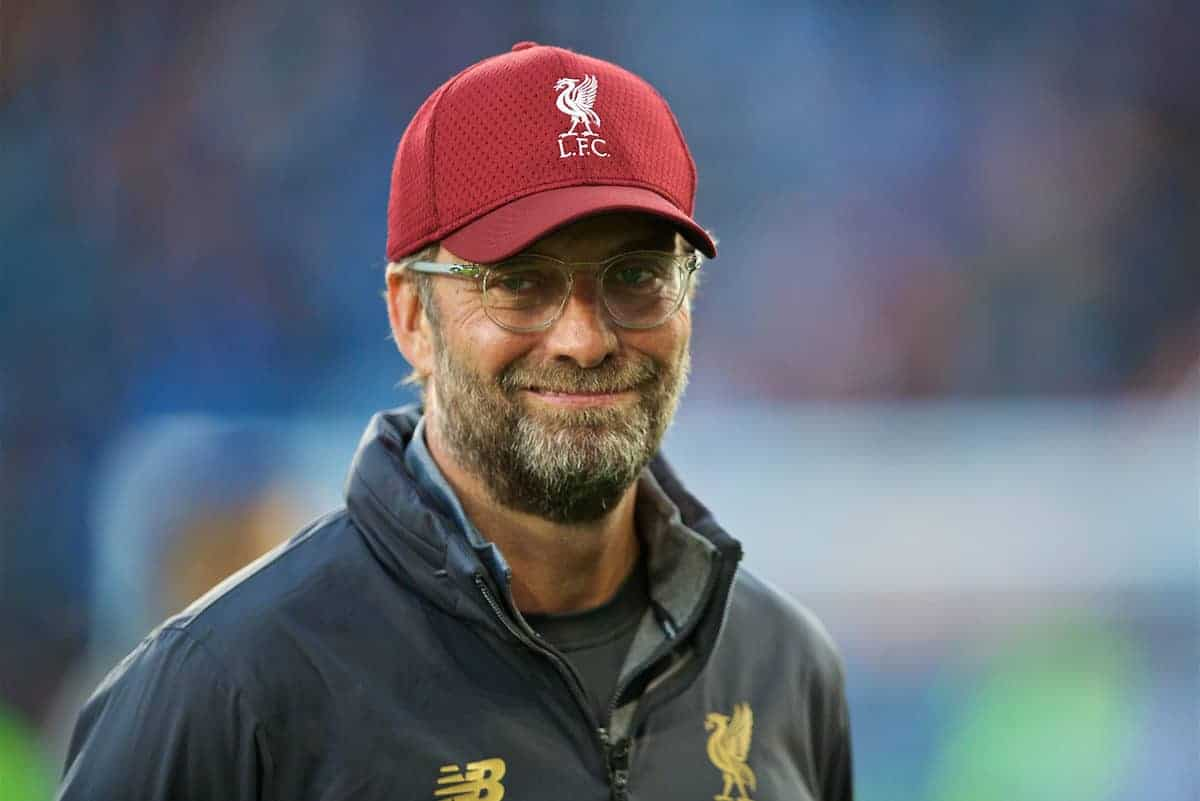 HUDDERSFIELD, ENGLAND - Saturday, October 20, 2018: Liverpool's manager Jürgen Klopp before the FA Premier League match between Huddersfield Town FC and Liverpool FC at Kirklees Stadium. (Pic by David Rawcliffe/Propaganda)