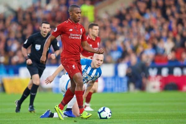 HUDDERSFIELD, ENGLAND - Saturday, October 20, 2018: Liverpool's Daniel Sturridge during the FA Premier League match between Huddersfield Town FC and Liverpool FC at Kirklees Stadium. (Pic by David Rawcliffe/Propaganda)