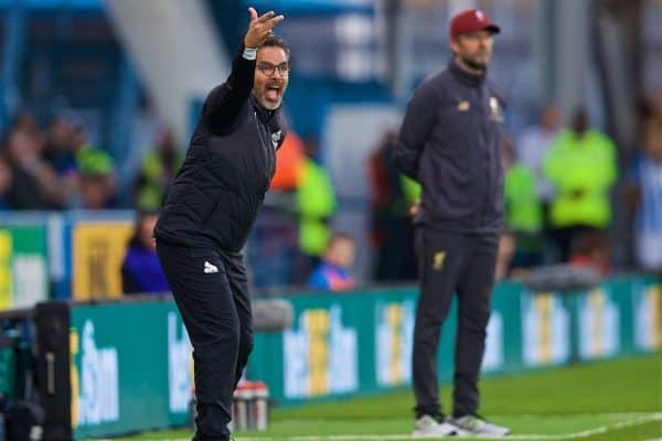 HUDDERSFIELD, ENGLAND - Saturday, October 20, 2018: Huddersfield Town's manager David Wagner reacts during the FA Premier League match between Huddersfield Town FC and Liverpool FC at Kirklees Stadium. (Pic by David Rawcliffe/Propaganda)