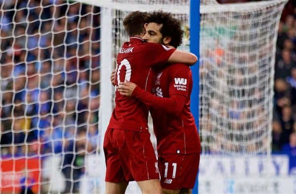 Liverpool's Mohamed Salah celebrates scoring the first goal with team-mate Adam Lallana during the FA Premier League match between Huddersfield Town FC and Liverpool FC at Kirklees Stadium. (Pic by David Rawcliffe/Propaganda)