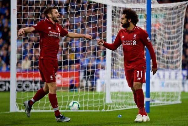 HUDDERSFIELD, ENGLAND - Saturday, October 20, 2018: Liverpool's Mohamed Salah celebrates scoring the first goal with team-mate Adam Lallana during the FA Premier League match between Huddersfield Town FC and Liverpool FC at Kirklees Stadium. (Pic by David Rawcliffe/Propaganda)