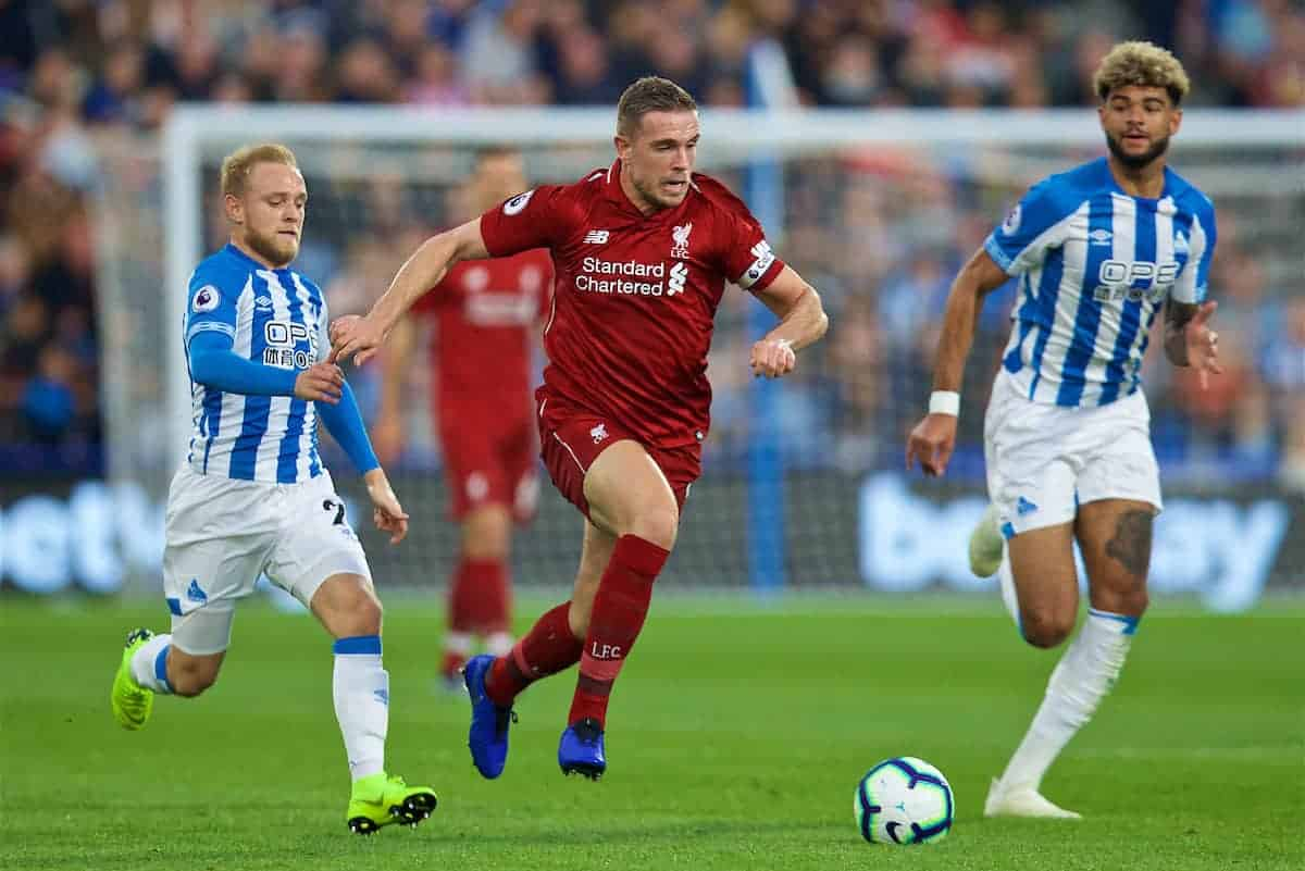 HUDDERSFIELD, ENGLAND - Saturday, October 20, 2018: Liverpool's captain Jordan Henderson during the FA Premier League match between Huddersfield Town FC and Liverpool FC at Kirklees Stadium. (Pic by David Rawcliffe/Propaganda)