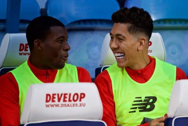 HUDDERSFIELD, ENGLAND - Saturday, October 20, 2018: Liverpool's substitutes Georginio Wijnaldum and Roberto Firmino during the FA Premier League match between Huddersfield Town FC and Liverpool FC at Kirklees Stadium. (Pic by David Rawcliffe/Propaganda)
