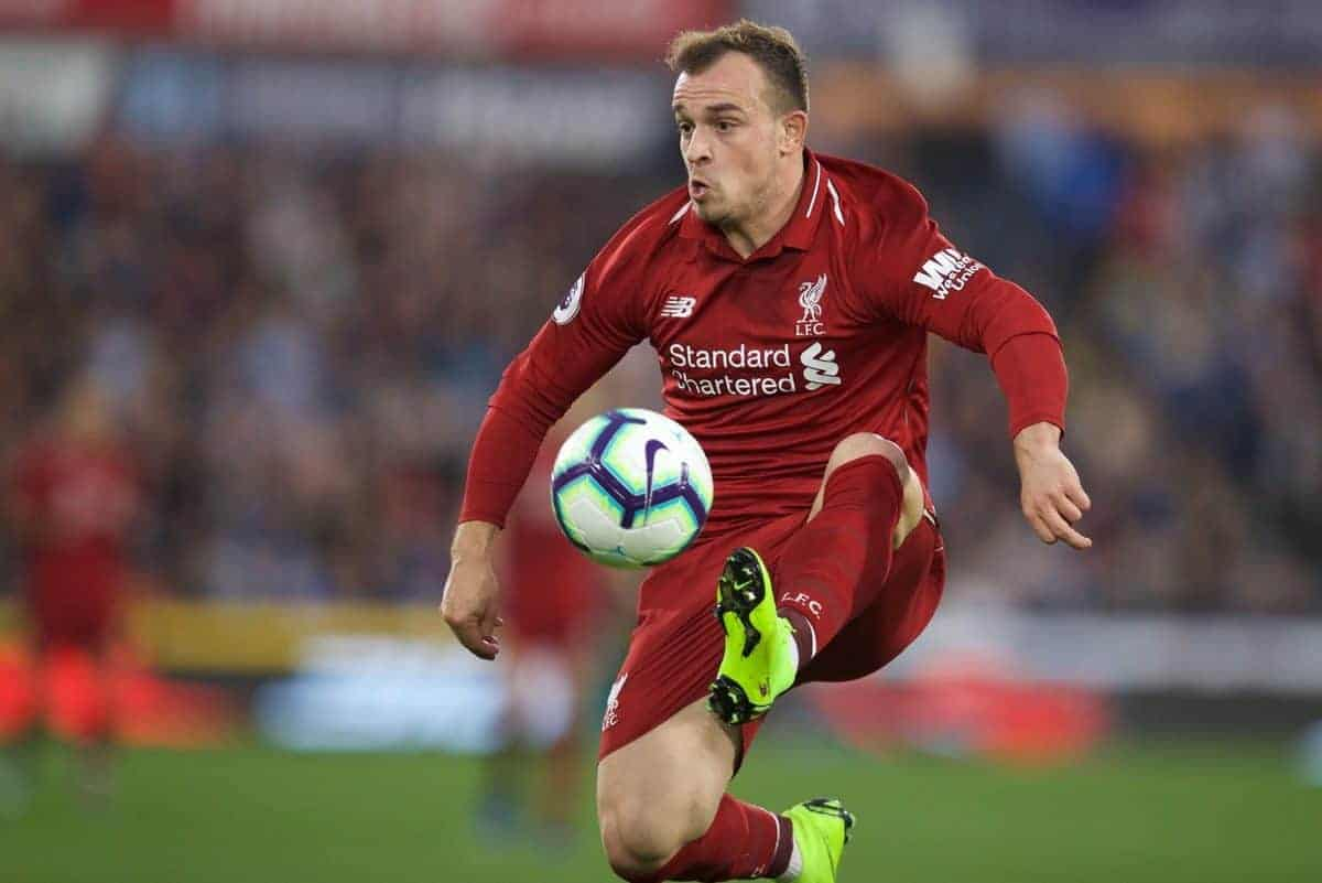 HUDDERSFIELD, ENGLAND - Saturday, October 20, 2018: Liverpool's Xherdan Shaqiri during the FA Premier League match between Huddersfield Town FC and Liverpool FC at Kirklees Stadium. (Pic by David Rawcliffe/Propaganda)