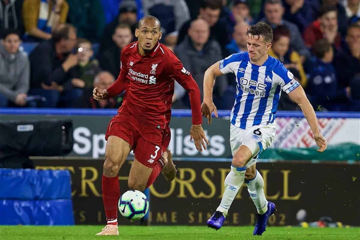 HUDDERSFIELD, ENGLAND - Saturday, October 20, 2018: Liverpool's Fabio Henrique Tavares 'Fabinho' (left) and Huddersfield Town's Jonathan Hogg during the FA Premier League match between Huddersfield Town FC and Liverpool FC at Kirklees Stadium. (Pic by David Rawcliffe/Propaganda)