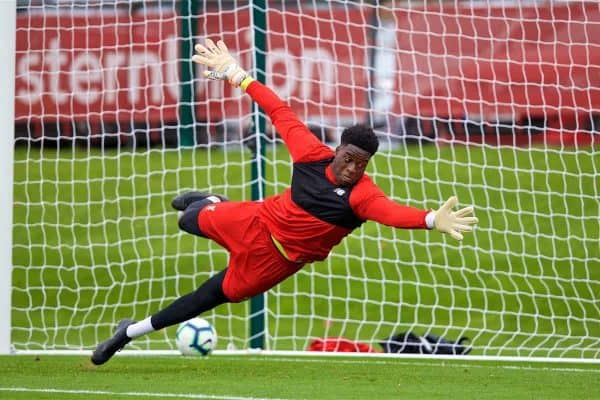 KIRKBY, ENGLAND - Sunday, October 21, 2018: Liverpool's substitute goalkeeper Kai Mckenzie-Lyle during the pre-match warm-up before the Under-23 FA Premier League 2 Division 1 match between Liverpool FC and Derby County at The Kirkby Academy. (Pic by David Rawcliffe/Propaganda)