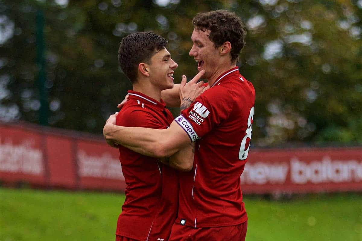 KIRKBY, ENGLAND - Sunday, October 21, 2018: Liverpool's captain Matty Virtue (R) celebrates scoring the first goal with team-mate Adam Lewis (L) during the Under-23 FA Premier League 2 Division 1 match between Liverpool FC and Derby County at The Kirkby Academy. (Pic by David Rawcliffe/Propaganda)